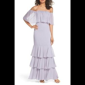 Off the Shoulder Ruffle Popover Gown WAYF $138MSRP